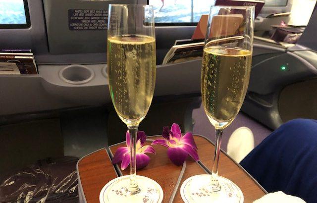 タイ国際航空(A330)ビジネスクラスの機内食やサービスを堪能する